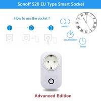Sonoff S20 UE Tipo de Telefone E Wi-fi Sem Fio Adaptador de Carregamento de Controle Remoto Casa Inteligente Tomada de Poder trabalhar com Alexa