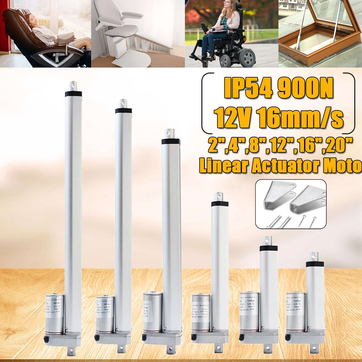 900N 2-20 inch 12V 16mm / s Small DC Electric Linear Actuator Motor Push Rod White Aluminum Alloy