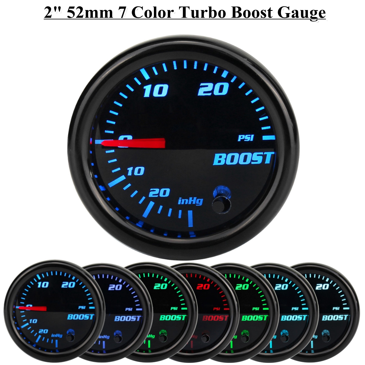 12 V 2 inch 52mm Turbo Boost PSI Manometer Vakuumpresse Meter 0-30PSI 7 Farbe LED Schwarz Len