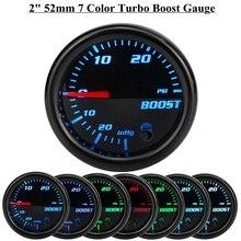 12V 2inch 52mm Turbo Boost PSI Gauge Vacuum Press Meter 0-30PSI 7 Color LED Black Len