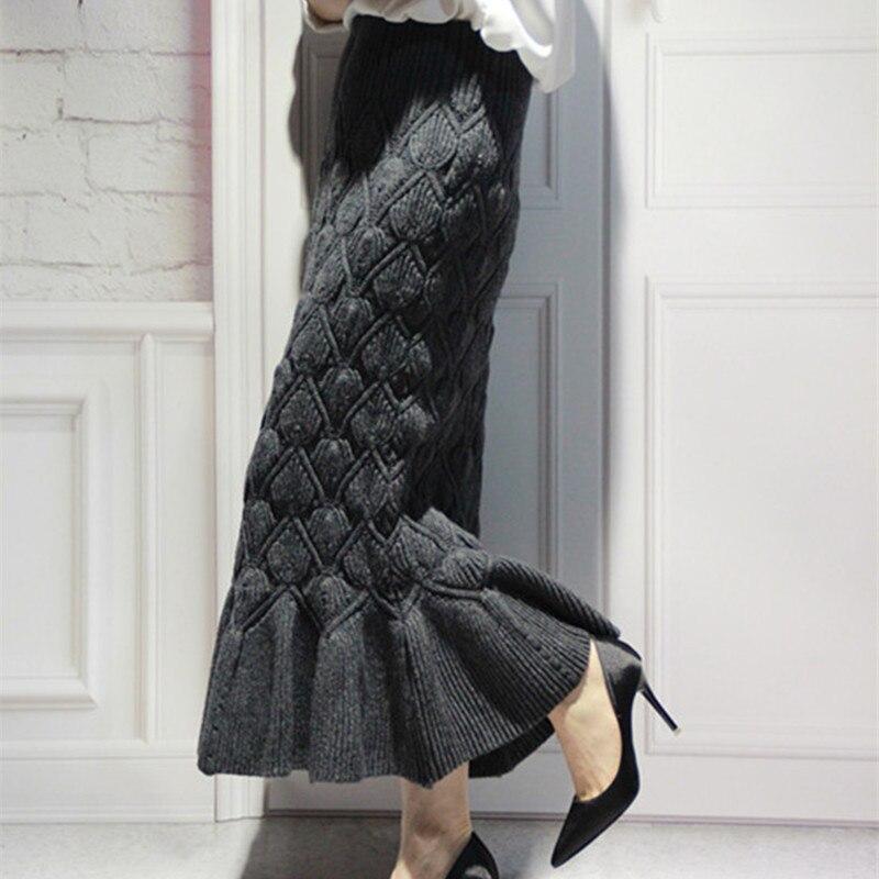 Free Shipping 2018 New Fashion Long Mid-calf Woolen Skirts For Women Mermaid Style Elastic Waist Skirts Winter Knitting Skirts