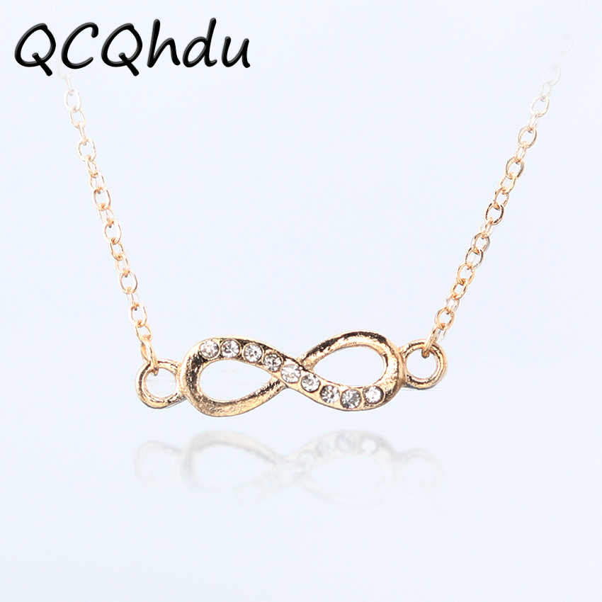 Infinity Symbol Pendant Necklaces for Women Choker Lucky Number Eight Geometric Silver Gold Color Long Chain Necklace
