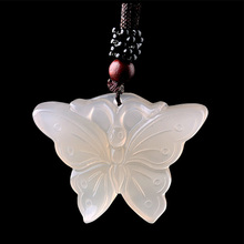 Natural Chalcedony Butterfly Pendant Necklace Drop Shipping Hand-carved Lucky Amulet Jade Necklace For Men And Women недорого