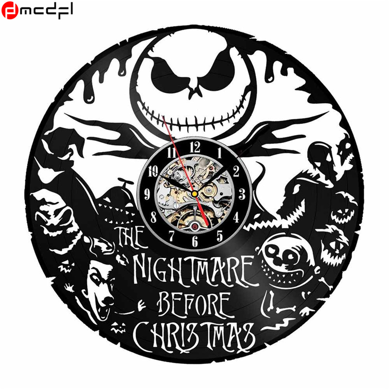 home decor the nightmare before christmas design vinyl wall clock halloween wall clock sticker