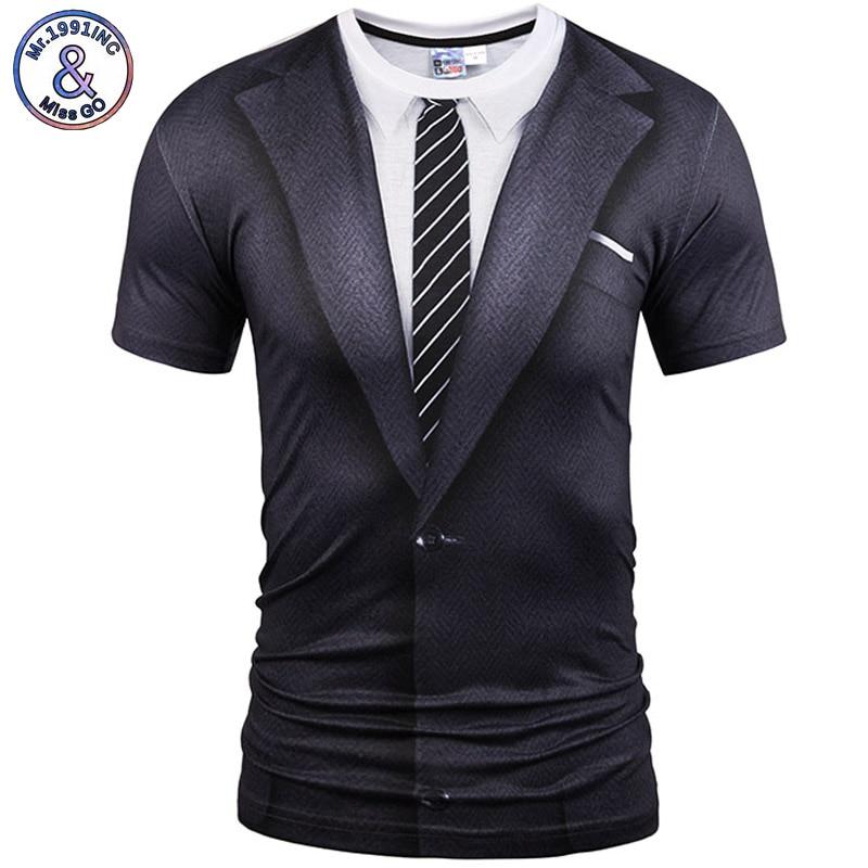 Mr.1991inc 뜨거운 새로운 스타일의 캐주얼 남성 3D T 셔츠 짧은 소매 문신 블랙 정장 디지털 인쇄 여름 탑 크기 S-XXXL 5988