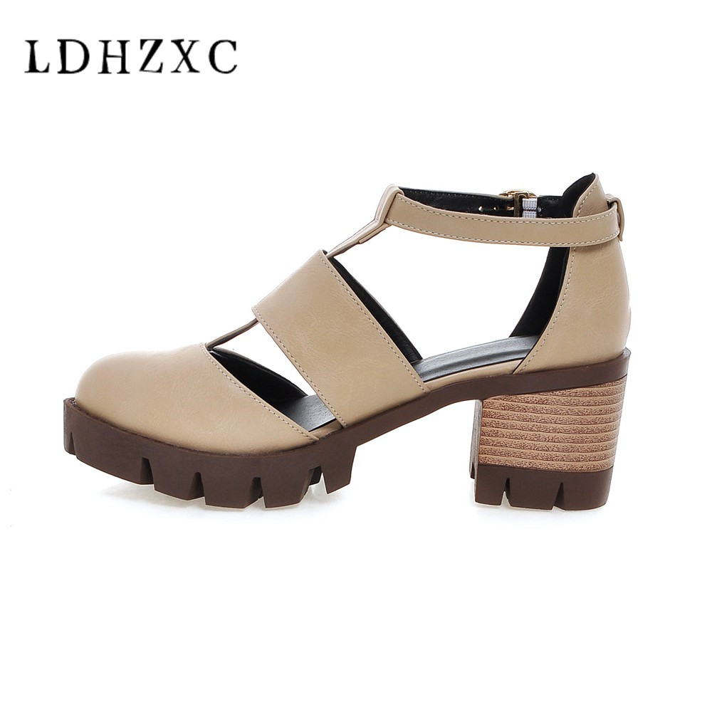 LDHZXC 2019 new Summer Rome Solid buckle <font><b>Pumps</b></font> <font><b>Women</b></font> <font><b>Sandals</b></font> <font><b>sexy</b></font> <font><b>High</b></font> <font><b>Heels</b></font> fashion Shallow mouth Woman Shoes image
