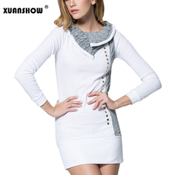 2018 Autumn Winter Women Bodycon Dresses Patchwork Long sleeves Turn-down Collar Wool Rivet Mini Casual Dress Vestidos 3