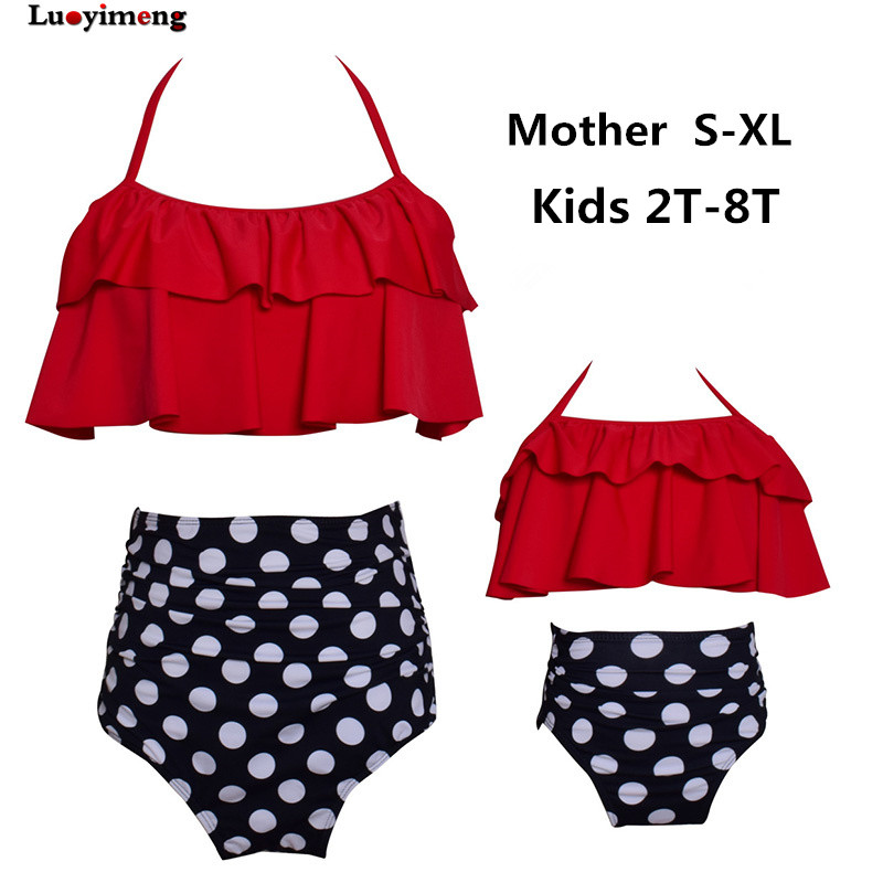 Mommy Me Family Matching Bikini Mother Daughter Swimwear Mother And Kids Swimsuit Family Look Beach Suit Summer Clothes Bathsuit