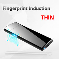 Latest Ultra Thin Fingerprint Touch Sensor Cigarette Lighter Rechargeable USB Charging Lighter Spare Electric Wire