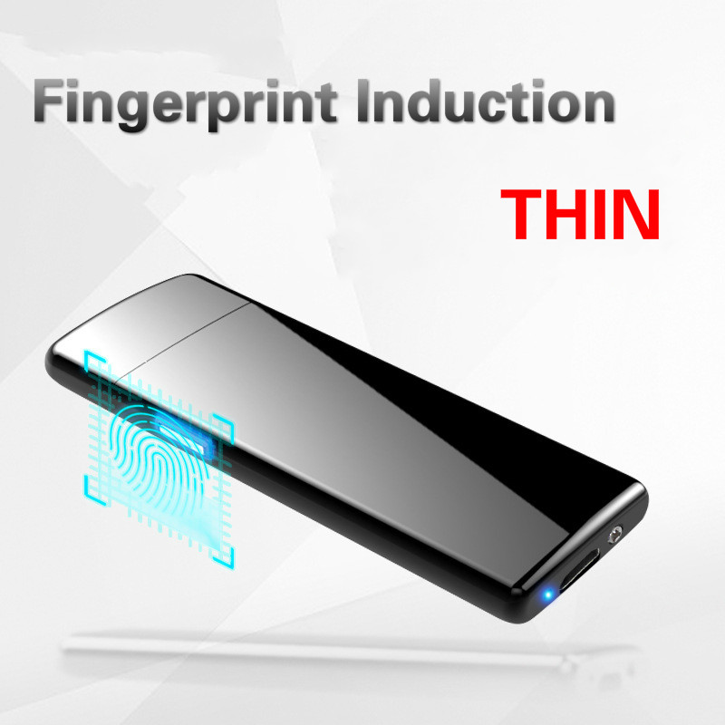 Latest Ultra-thin Fingerprint Touch Sensor Cigarette Lighter Rechargeable USB Charging Lighter Spare Electric Wire