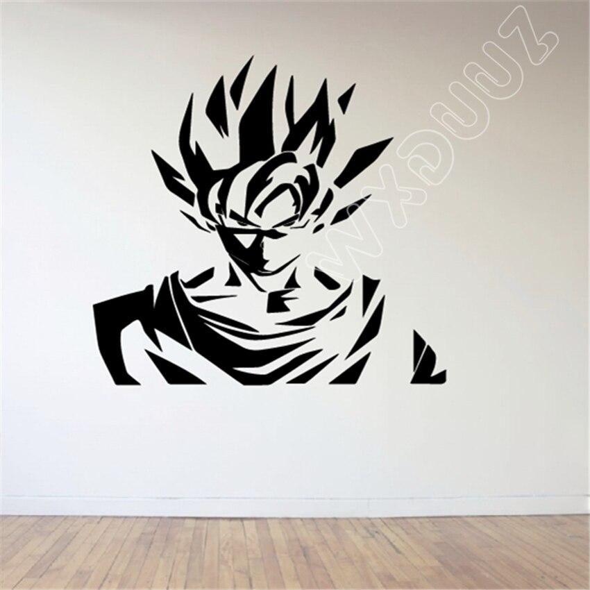 Japanese comics Dragon Ball Z Goku Saiyan Mural Wall Art Decal Kids Room Anime Wall Sticker Vinyl Wall Decals B409