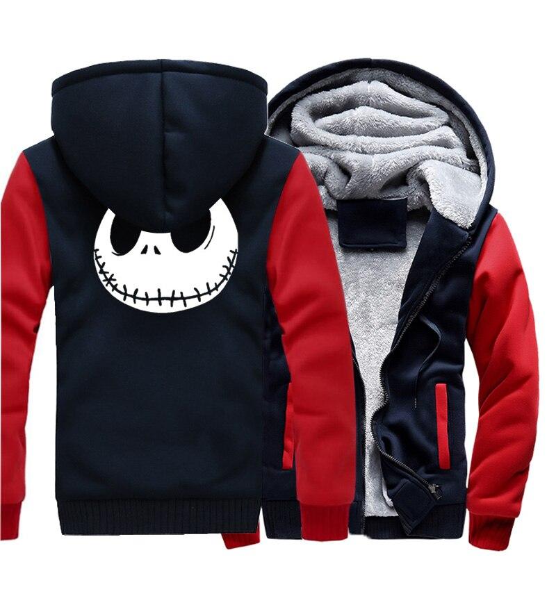 Image 2 - Jack Skellington Evil Face Print Hip Hop Streetwear Hoody 2018  Winter Thick Hoodies For Men Harajuku Zipper Jacket Sweatshirthoodies  for menstreetwear hoodiethick hoodie