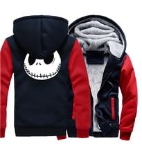 Jack Skellington Evil Face Print Hip Hop Streetwear Hoody 2019 Winter Thick Hoodies For Men Harajuku Zipper Jacket Sweatshirt