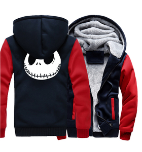 Image 2 - Jack Skellington Evil Face 프린트 힙합 Streetwear Hoody 2018 겨울 두꺼운 후드 티 남성용 하라주쿠 지퍼 자켓 스웨트