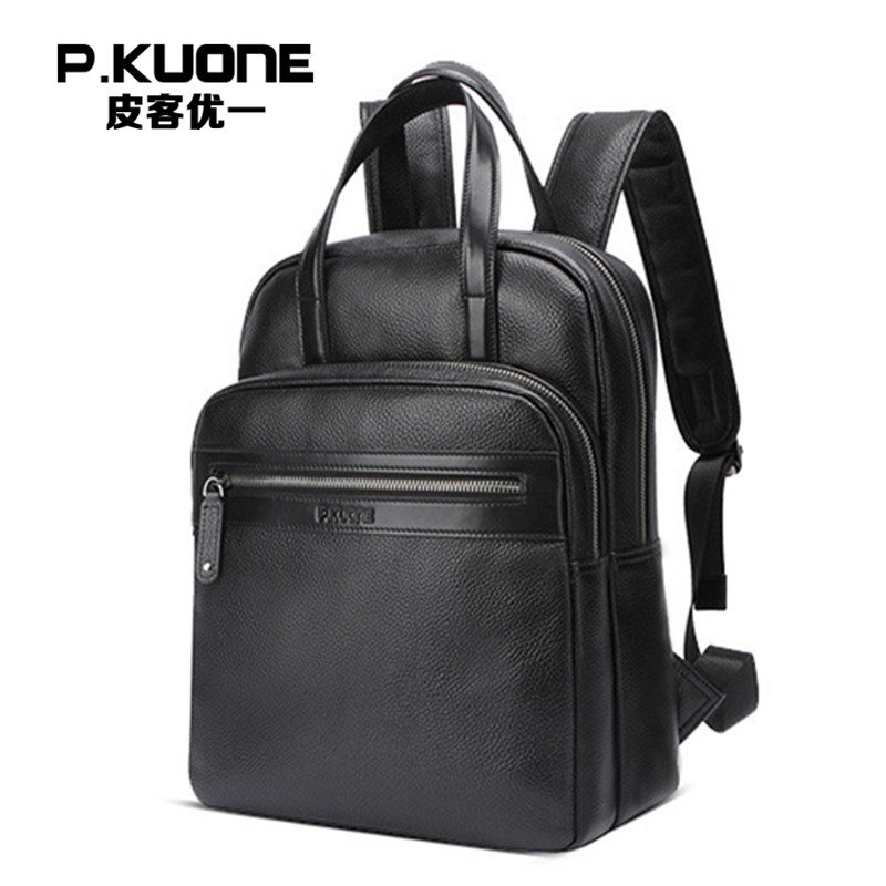 P.KUONE High Quality Bag Genuine Leather Multi-function Backpack And Hand Bag Fashion Men Shoulder Bag Travel Leisure New Design travel tale fashion cat and dog capsule pet cartoon bag hand held portable package backpack