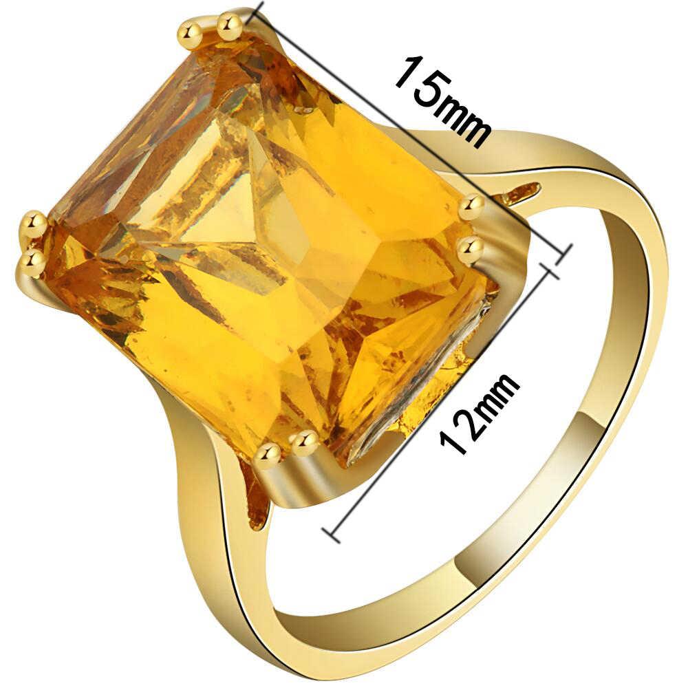Custom Wedding Bands.Bright Big Yellow Cubic Zirconia Square Design Ring Gold Color Exquisite Custom Wedding Bands Finger Ring For Women Accessories