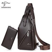 Купить с кэшбэком SAQIDAISHU Men Casual Pu Leather Shoulder Bag Famous Designer Brands High Quality Male Chest Pack Men Travel Bags Messenger Bags