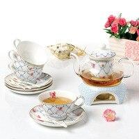 Chinese Tea Set Porcelain Heatable Glass Teapot 4 Pcs Tea Cup Top Grade Bone China Heat resistant transparent teapot with Saucer