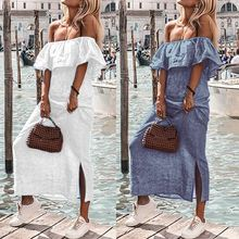 Celmia Plus Size Women Maxi Long Shirt Dress 2019 Summer Sexy Off Shoulder Party