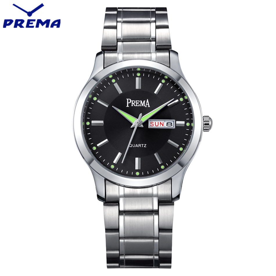 Relogio Masculino PREMA Mens Watches Top Brand Luxury Stainless Steel Reloj Hombre Leather Belt Quartz Wristwatches Relogio Male relojes hombre 2017 mens watches top brand luxury carnival simple relogio automatico masculino dress stainless steel gift clock