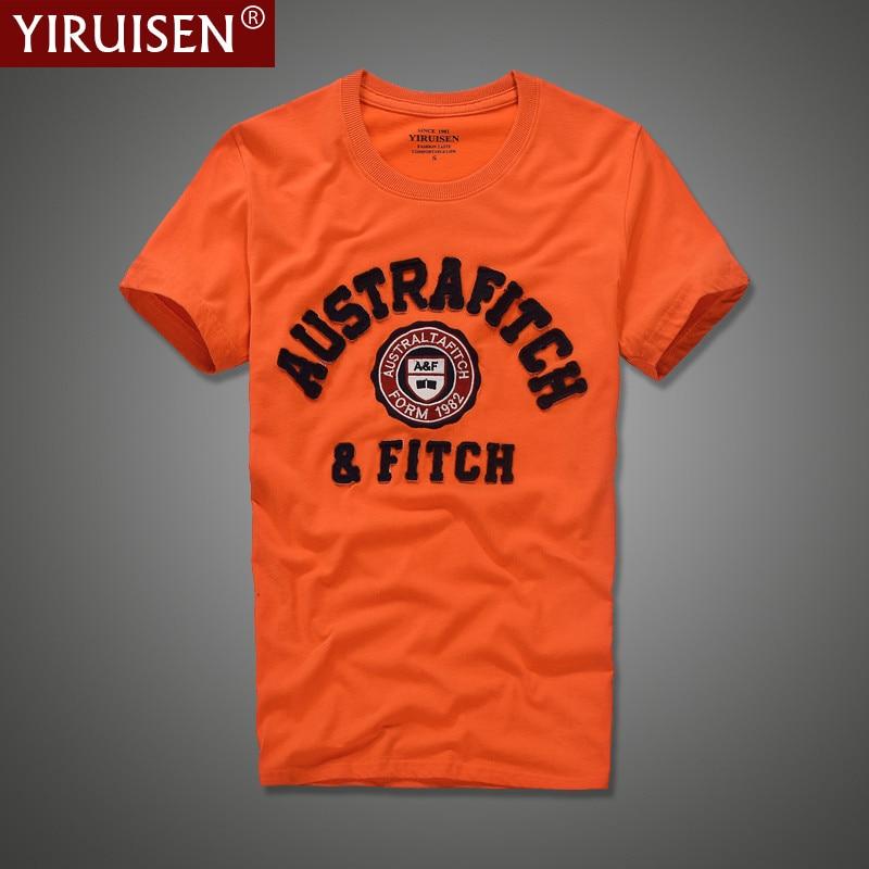 YiRuiSen merk kleding mannen korte mouw t-shirt 100% katoen o-hals mode brief patch t-shirt mannen zomer casual top tees