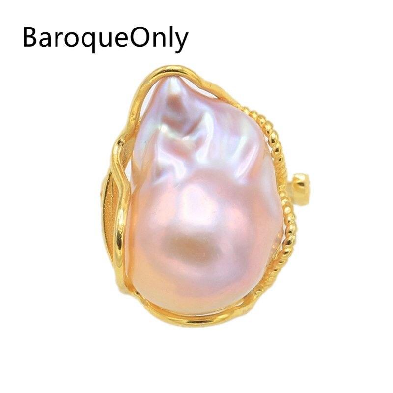 BaroqueOnly anneaux réglables en perles baroques de couleur mélangée 17 25mm perle d'eau douce naturelle haute brillance 925 argent Sterling RD-in Anneaux from Bijoux et Accessoires    1