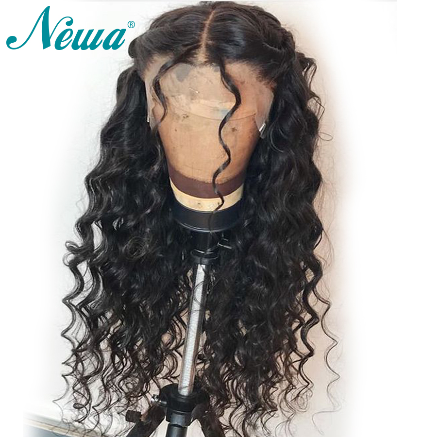 NYUWA Pre Plucked 360 Lace Frontal Wigs With Baby Hair Water Wave Brazilian Remy Hair 100