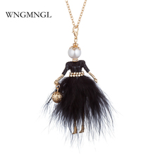 WNGMNGL 2018 New Women Long Necklace Christmas Party Crystal Doll Pendant For Charm Statement Fashion Jewelry