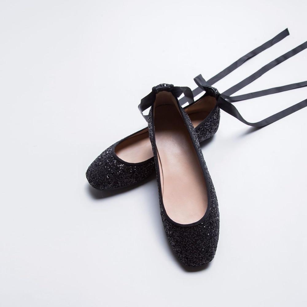 Noir Bout argent Casual Colth Cheville Peu Superstar 2018 Profonde L12 Up Appartements Femmes Mode Rond Lace Confortables Doux Ballet Danse Paillettes Chaussures 0wTpxE1Rxq