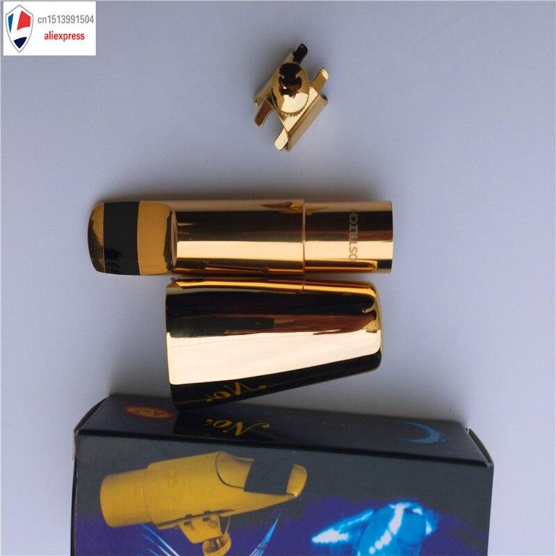 Nouveau en gros Sax embout LOGO personnalisé embout Saxophone embout en métal avec capuchon et Ligature plaqué or 5, 6, 7,8, 9