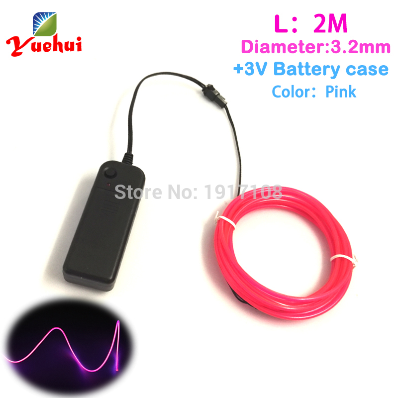 2017 Colorful Trendy 3.2mm 2Meter Flexible EL Wire DC-3V Car Party Decor Can offer 360 degrees of illumination Neon Glow Light