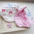 Roupa Do Bebê Do algodão de 2 peças/lote orelha de Madeira Arco Rosa e branco Roupa Interior Da Menina 0-2 anos de idade do bebê Recém-nascido menina calções roupa interior