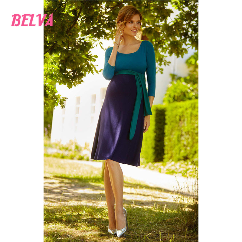 ФОТО Belva 2017 Maternity Empire Waist Dress with a belt Bamboo Fiber maternity dress photography with a sash photo shoot ds911