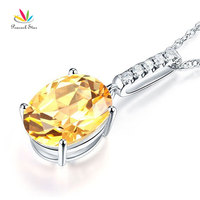 Peacock Star 14K White Gold 4 1 Ct Oval Yellow Topaz Pendant Necklace 0 1 Ct