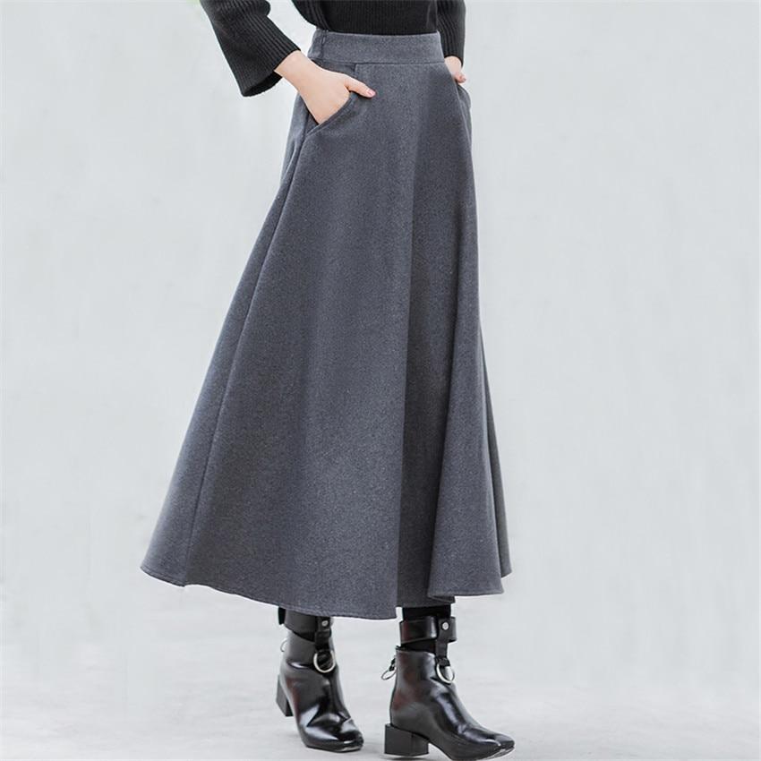 Autumn Winter Wram Thick Women Woolen Skirt Elastic High Waist Skirts Casual A-line Wool Skirts Female Long Big Swing Skirt A707
