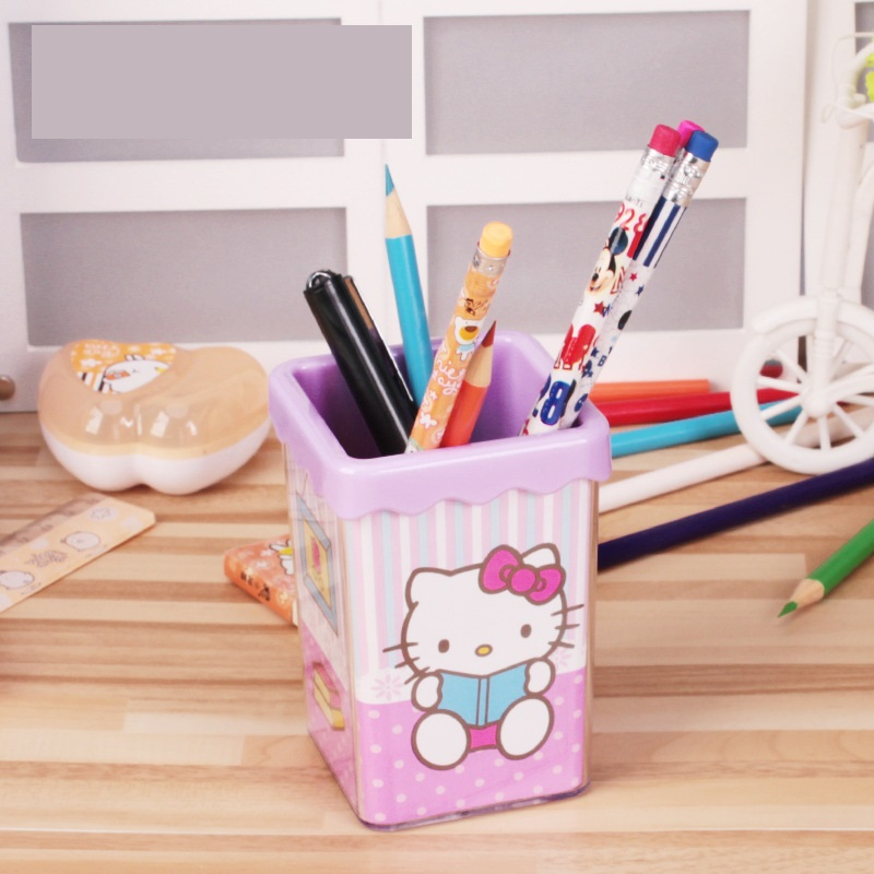 10pcs Plastic Cute Cartoon Hello Kitty Pen Organizer Quality Pen Holder  Office Supplies Good Gifts For Girls Party Gift 7*7*10CM In Party Favors  From Home ...