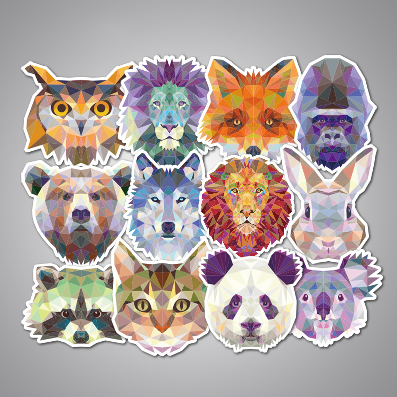 35 pcs Mixed Geometry Galaxy Animal Stickers Funny Cartoon Graffiti Luggage Computers ca ...