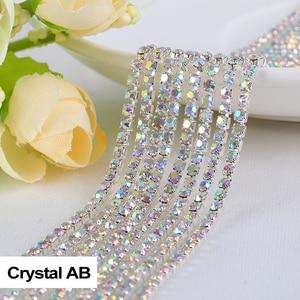 Crystal AB 3yard Top-Grade Glass Wide Rhinestone Cup Chain Silver Base Trim Applique Sew on Rhinestones For Garments
