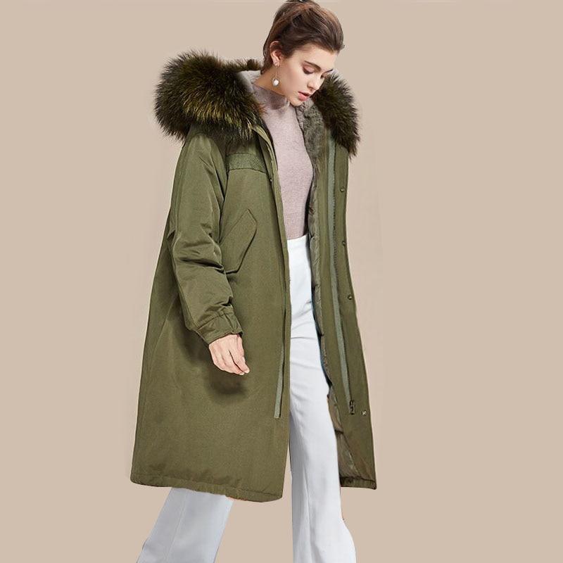 90% White Duck   Down     Coat   2018 New Fashion Brand Women's   Down   Jackets Natural Raccoon Fur Collar Female Parka Winter Jacket Women