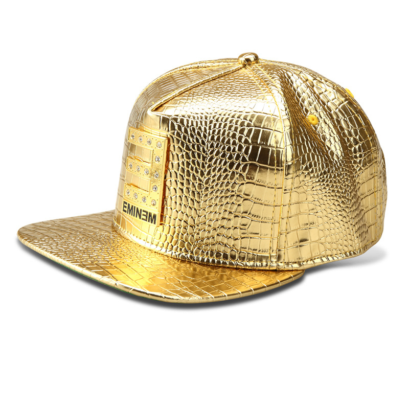2016 Luxury Faux Leather Diamond Crocodile Hip Hop Dj Hat Gold