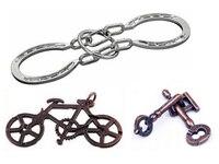 3PCS LOT Cast Key Bike Bell Ring Puzzle Classic Metal Brain Teaser IQ Puzzles Box Packing