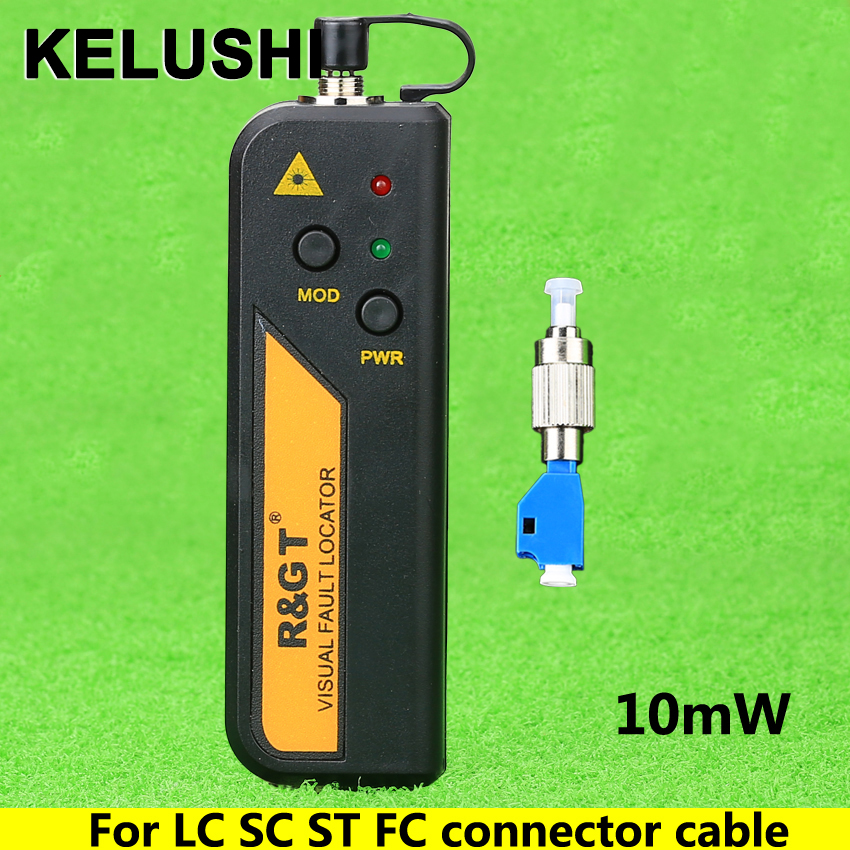 KELUSHI 10mW 650n Red Laser Visual Fault Locator fiber optic laser tester LC/FC/SC/ST Adapter fiber optica cable CATV
