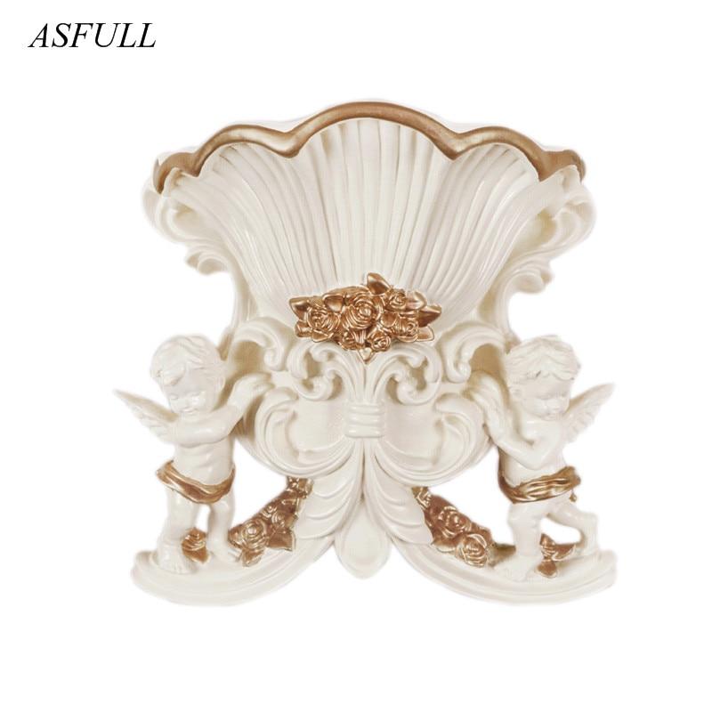 ASFULL European Angel Vase Creative Resin Vase Home Furnishing Decoration Technology Flower Shop Wedding Decoration Wall Sticker