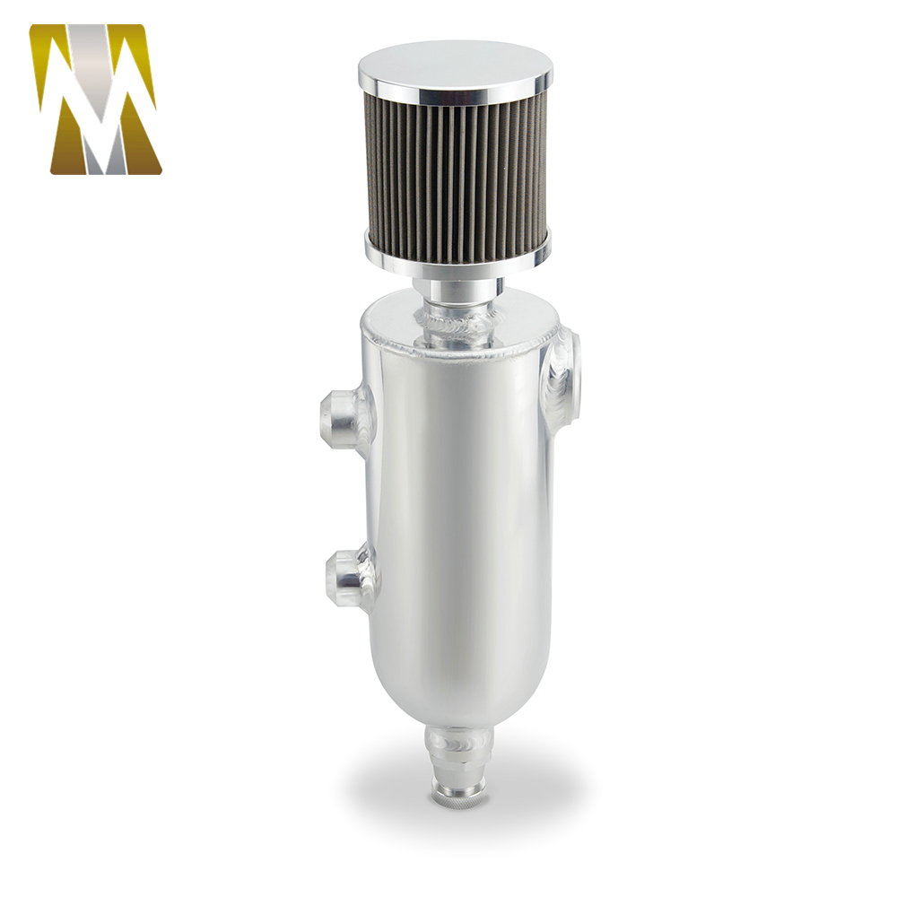 0.75L Auto Polished Silver Fuel Tank with Breather & Drain Tap 12 ORB Oil Catch Can Tank Black