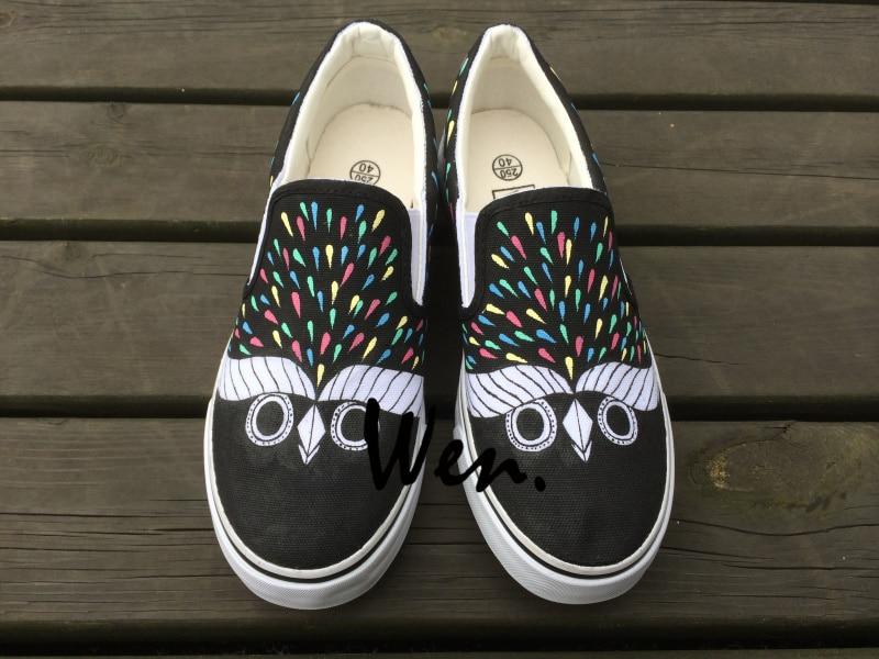 Wen Original Slip On Shoes Owl Pattern Design Custom Hand ...