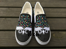 Wen Original Slip On Shoes Owl Pattern Design Custom Hand Painted Shoes Men Women Canvas Sneakers for Birthday Gifts