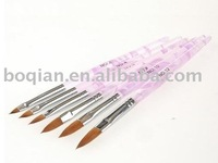6 pcs/set Nail art Kolinsky brushes with Acrylic Marble handle #2 to #12