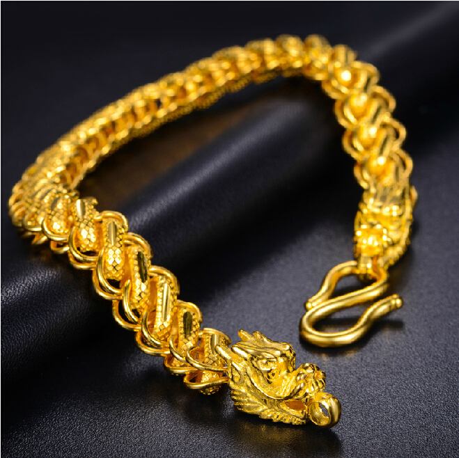 Authentic 24k Yellow Gold Thailand Dragon Head Men S