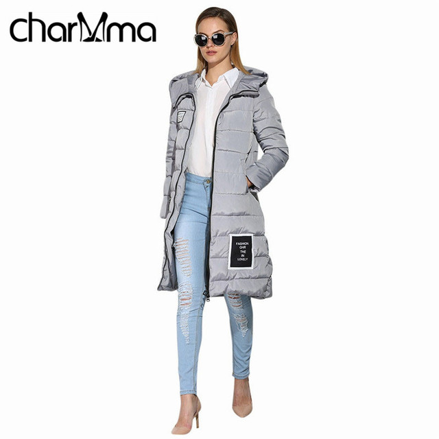 charMma 2016 Winter Duck Down Jacket Women Long Coat Parkas Thickening Female Warm Clothes Hooded Plus Size Zipper Down Parkas