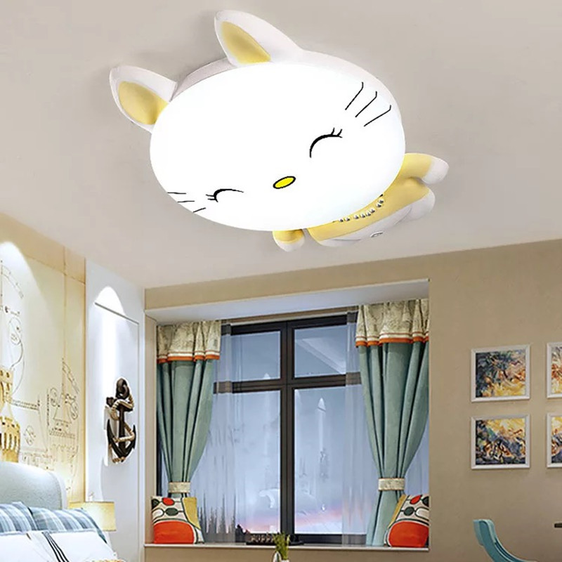HAWBERRY LED белый свет Нейтральный Теплый Белый свет детская спальня комната котенок мультфильм простой потолочный светильник
